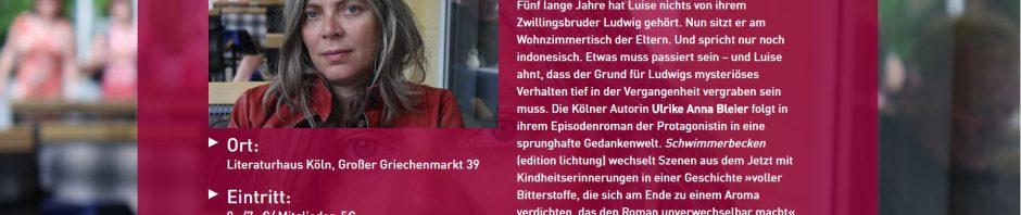 Schwimmerbecken – Kölnpremiere am 19. Januar im Literaturhaus Köln