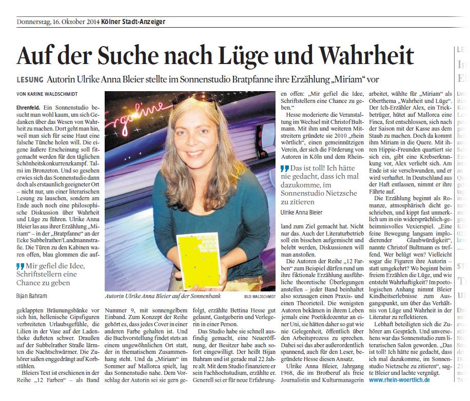 Kölner Stadt-Anzeiger über Miriam, Ulrike Anna Bleier